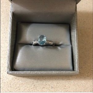 Zales Size 7 925 Stamped SS and Aquamarine Ring
